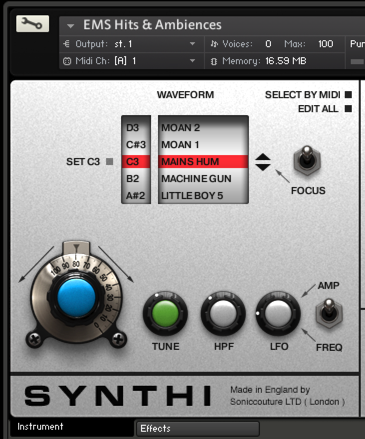 Focus implemented in Synth AKS